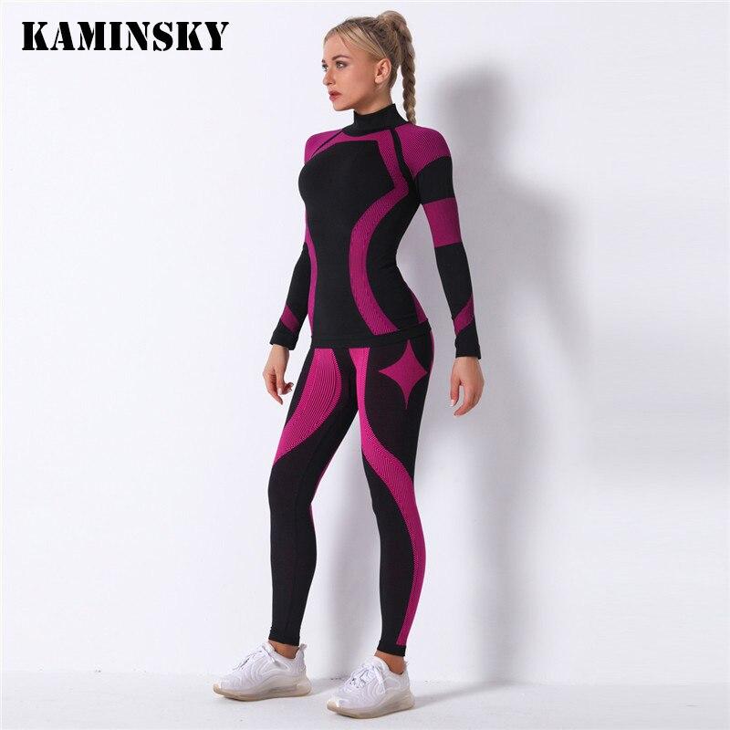 Kaminsky Women 2pcs Seamless Set Sport Suit Gymwear Workout Clothes Long Sleeve Gym Top High Waist Leggings Fitness Women Sets Women's Sets  - AliExpress