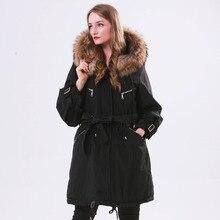 大自然のアライグマの毛皮の冬ジャケット女性フード付き ロングパーカー女性のための厚いスリムダウン冬のコートの女性防水 2019