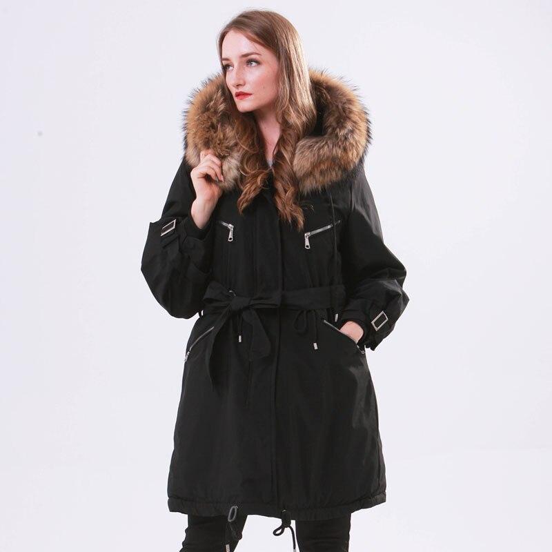 Large Natural Raccoon Fur Winter Jacket Women Hooded 2019 Long   Parkas   For Female Thick Slim Down Winter Coat Women Waterproof