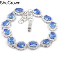 8x6mm Elegant Rich Blue Violet Tanzanite White CZ Party Silver Bracelet 8.0 8.5in