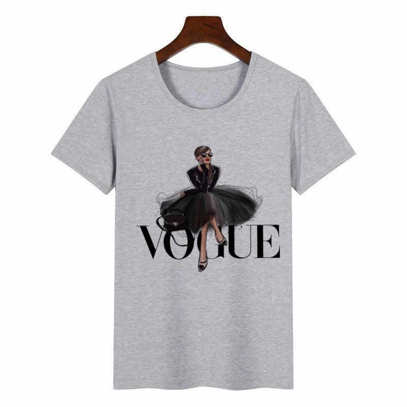 נשים הדפסת T חולצה יופי O-צוואר חולצות Tees קיץ סגנון נשי חולצה