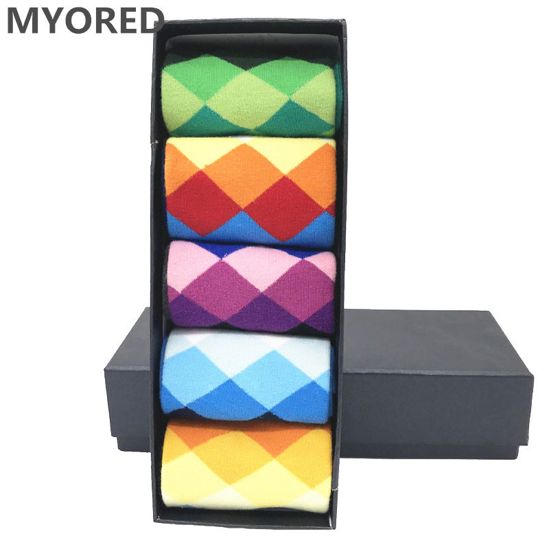 MYORED 5 Pair/lot Men's Argyle Colorful Socks Cotton Colorful Wedding Gift Socks Funny For Happy Bright Party Sock NO BOX