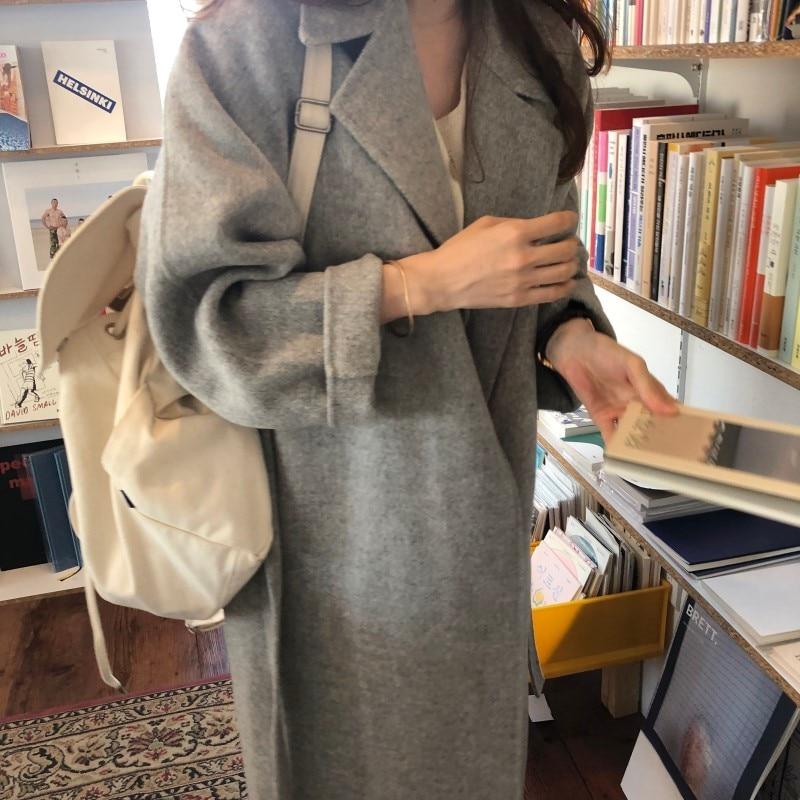 19 Winter Oversize Long Trench Coat Women Cashmere Coat Korean Lady Windbreaker Outwear Streetwear 43