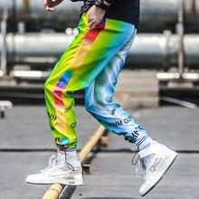 היפ הופ מקרית camo מכנסיים חדש פופולרי אירופה נאה רחוב אופנה תשע נקודות קטן קרן רגל דק מכנסי טרנינג צהוב