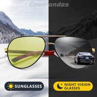 CoolPandas di Disegno di Marca Fotocromatiche Occhiali Da Sole Polarizzati Degli Uomini di Guida Giorno di Visione Notturna Occhiali Da Sole Donne Chameleon lentes de sol