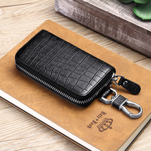 WILLIAMPOLO men leather key wallet for mens car key holder Alloy keyhook fashion 2019 design Zipper wallet small Convenient