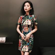 Женское шелковое платье cheongsam с коротким рукавом, Ретро стиль, воротник-стойка, платье cheongsam, цветочный принт, qipao, улучшенное китайское платье