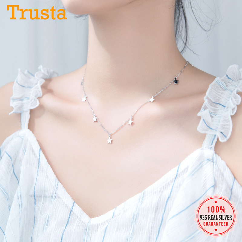 Trusta Genuine 925 Sterling Silver Sweet Necklace Tassel Star Pendant Statement Necklace For Women Girl Friend Jewelry DS1870