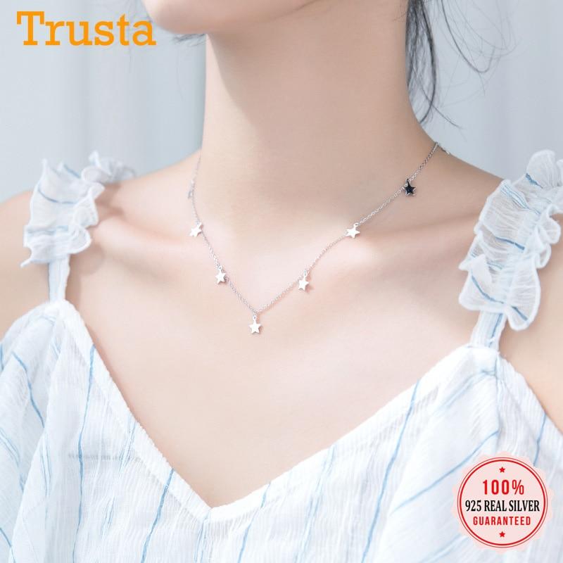 Trusta Genuine 925 Sterling Silver Sweet Necklace Tassel Star Pendant Statement Necklace For Women Girl Friend Jewelry DS1870