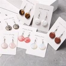 Okrągłe monety kamień kromka magiczne kolczyki dla kobiet biały klejnot kamień różowy kryształ dynda kolczyk biżuteria dla party prezenty hurtowych
