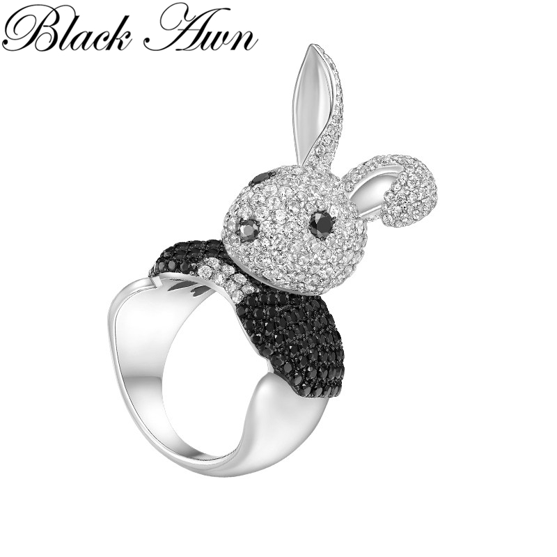 2019 New Arrive rabbit 925 Sterling Silver Jewelry Trendy Wedding Rings for Women Engagement Ring Bague Femme Bijoux G098