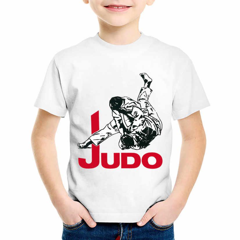 Kinder Mode Druck Judo Lustige T-shirts Kinder Kühlen Sommer Kurzarm Tees Tops Baby Casual Kleidung Für Jungen/Mädchen