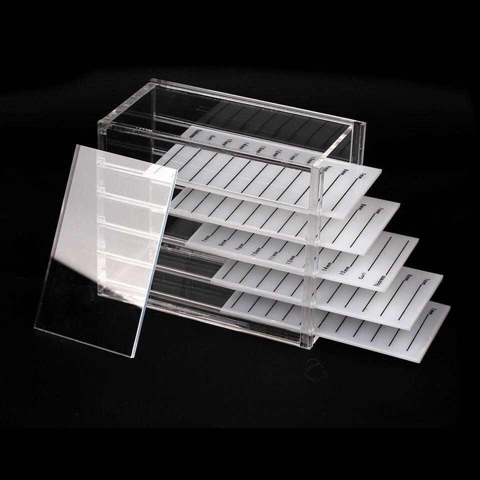 NEWCOME  Transparent Acrylic 5 Layers Eyelash Extension Storage Box Makeup Organizer False Eyelashes Pallets Holders Grafting