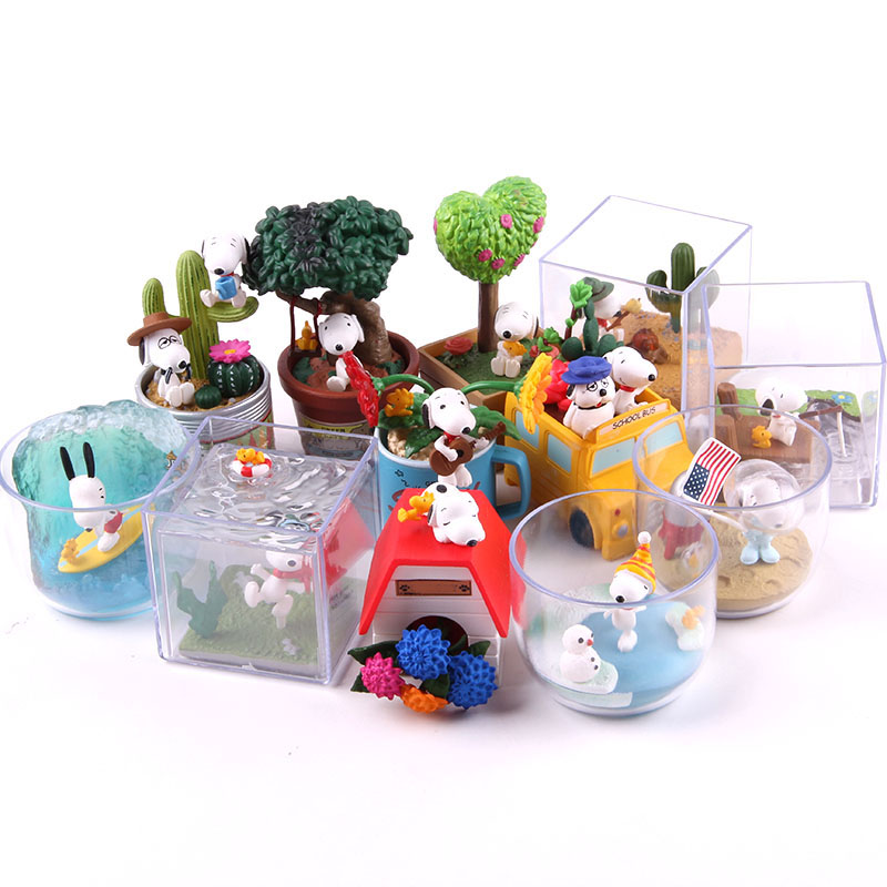 Image 2 - Anime Cartoon Woodstock Happy Terrarium Peanuts Camping Snorkeling Dog PVC Action Figure Collectible Model Toy for Kid 6pcs/setAction & Toy Figures   -