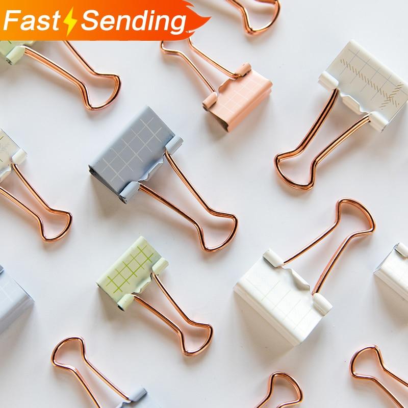 JIANWU 6pcs 8pcs/set  Simple Square Clip Creative Metal Clip Lovable Bill Folder  Kawaii Office Stationery