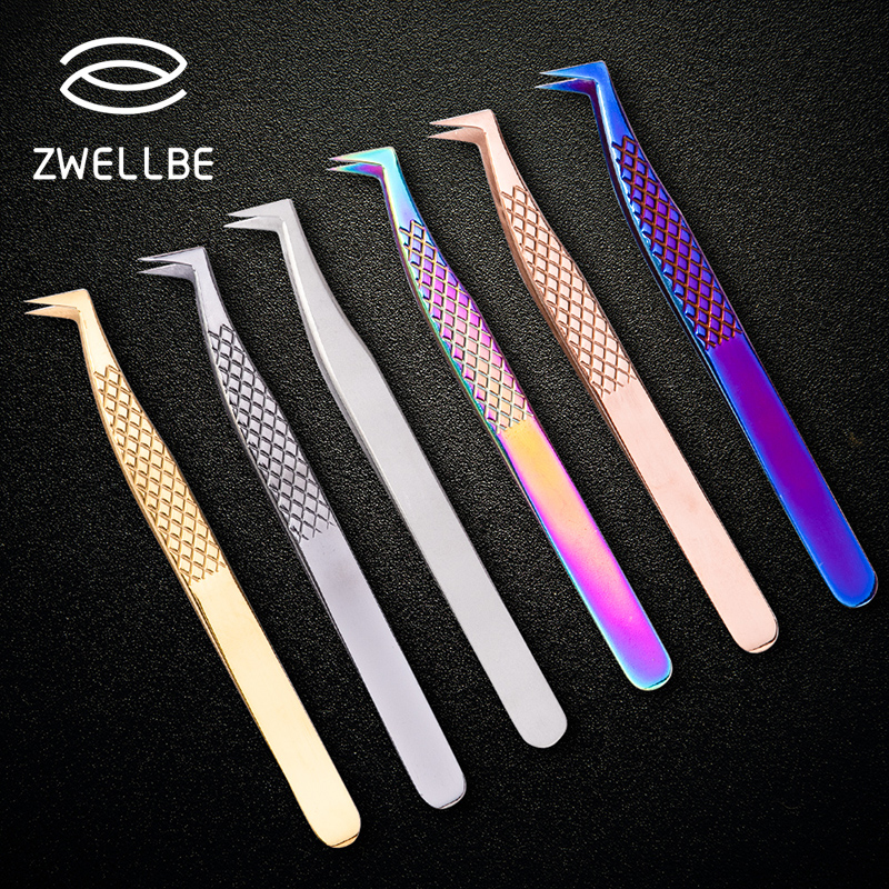 1 pcs Stainless Steel Eyelashes Tweezers Professional For Lashes Extension Gold Decor Anti static Eyelash Tweezer Makeup Tools