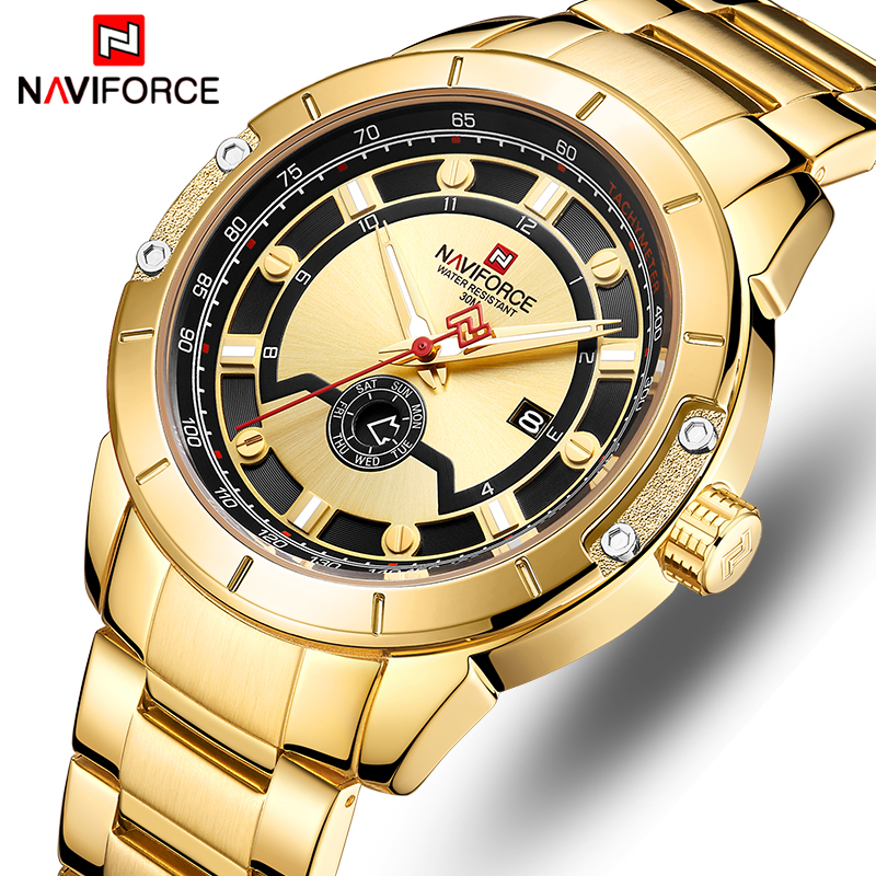 NAVIFORCE Top Brand Men Fashion Gold Watches Men's Waterproof Full Steel Quartz Watch Waterproof Male Clock Relogio Masculino