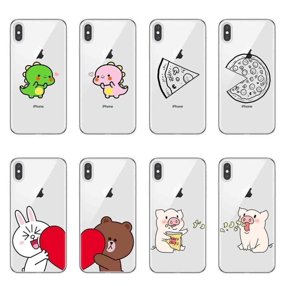 Funny Pizza Best Friends Phone Case For iPhone 11 Pro X XS MAX XR 7 8 6 6s Plus 5S SE Cute Dinosaur Couple Soft Back Cover Shell