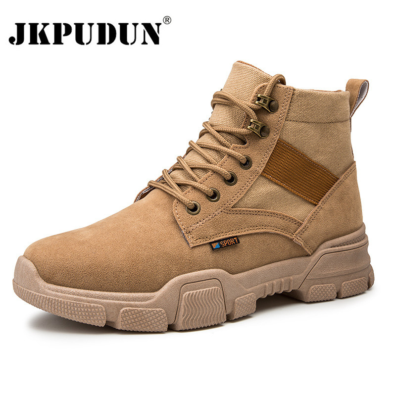 Vintage Men Boots Suede Leather Western Ankle Boots Men Waterproof Winter Work Boots Casual Shoes Cowboy Botas Plus Size JKPUDUN