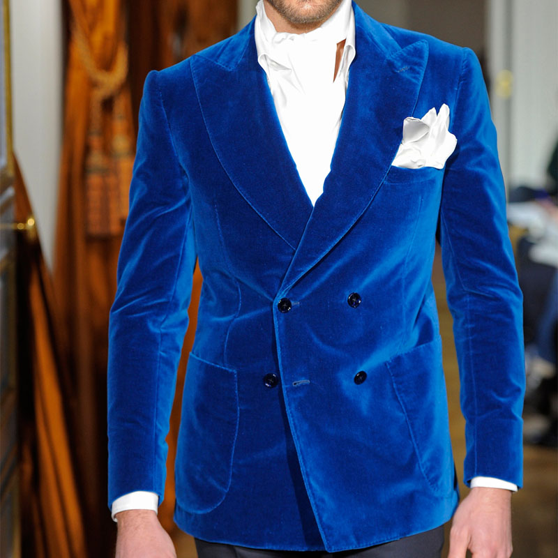 Two Piece Royal Blue Velvet Evening Party Men Suits 2019 Classic Style Double Breasted Wedding Groom Tuxedos Jacket Black Pants