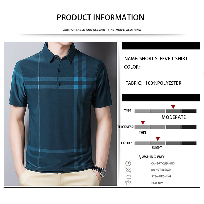 BROWON Business Polo Shirt Men Summer New Casual Loose Breathable Anti-wrinkle Short Sleeved Plaid Men Polo Shirt Men Tops
