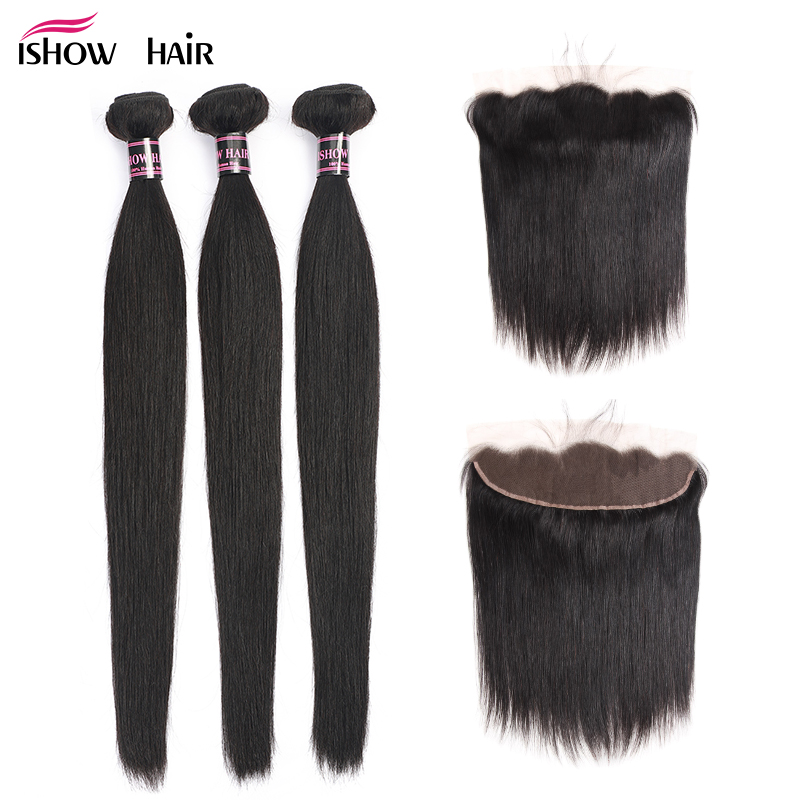 Ishow Hair Ear To Ear Lace Frontal Closure With Bundles Brazilian Straight Human Hair 3 Bundles With Closure Non Remy 4 Pcs/lot