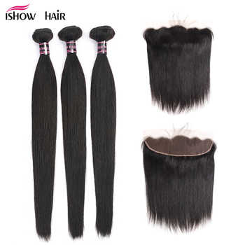 Ishow Hair Ear To Ear Lace Frontal Closure With Bundles Brazilian Straight Human Hair 3 Bundles With Closure Non Remy 4 Pcs/lot - DISCOUNT ITEM  62% OFF All Category
