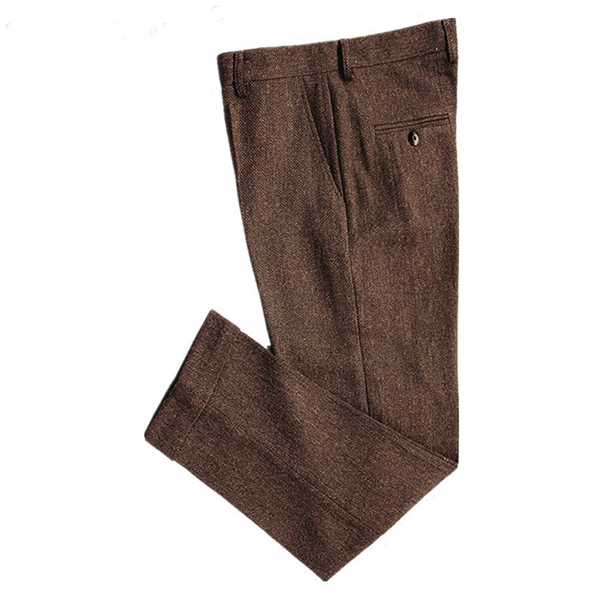 Classic Men's Pants Tweed Mens Wool Trousers Brown Woolen Thick Warm Suit Pant For Winter Slim Herringbone Man Pants