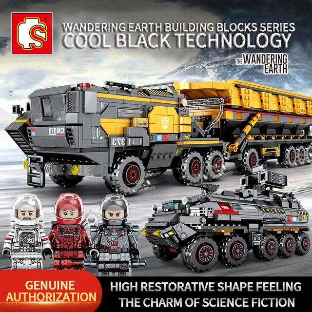 Sembo técnica cidade transportadora veículo caminhão a terra errante carro astronauta brinquedo conjuntos de construção tijolo cidade compatível crianças brinquedos