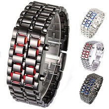 Lava Iron Samurai Men's Watch Luxury Stainless Steel Band LED Watches