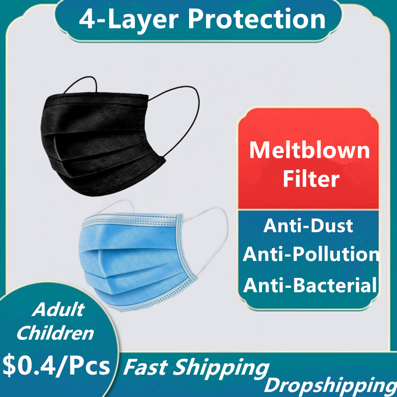 50Pcs Disposable Protective Mask 4 Layer Meltblown Filter Hygiene Face Mask Anti Dust Anti-fog Mouth Mask Protection Facial Mask
