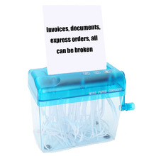 Portable Mini Manual Paper Shredder Crusher with anti-slip base for Office Home School Hand Crank A6 A4 Paper Documents Shredder