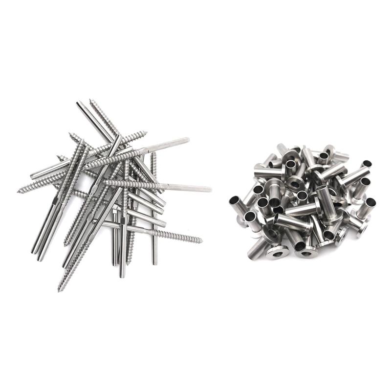 64 шт. защитные втулки из нержавеющей стали и 20 шт. резьбовые шпильки с резьбой для 1/8 дюймовых кабельных перил, деревянных столбиков