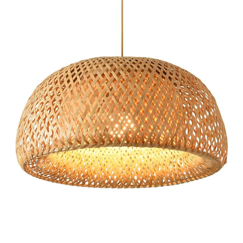 Nordic Pendant Lamp  Wooden Pendant Weaving Bamboo Hanging Lamp Retro Garden Restaurant Study Bedroom Living Room Lamp lightIing 1