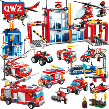 QWZ Blocks Large Fire Rescue Legoes Building Station Helicopter Truck Block Toys For Children Gifts