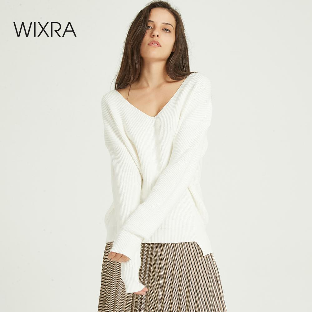 Wixra 2020 New Basic V-neck Solid Autumn Winter Loose Sweater Pullovers Women Female Knitted Oversized Long Sleeve Sweaters