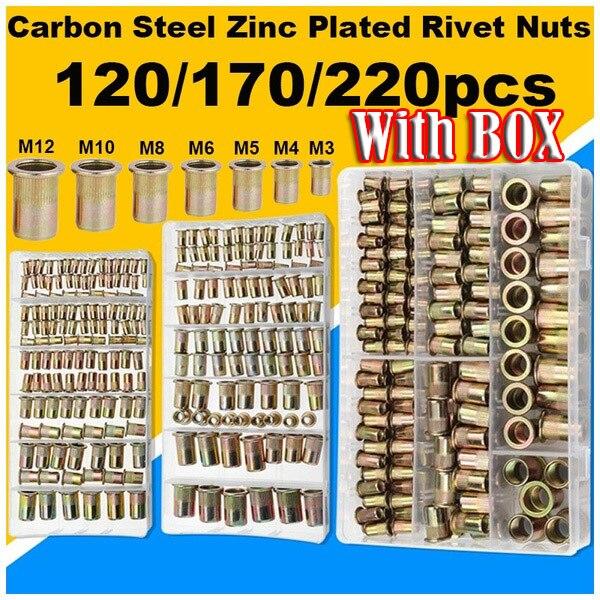 120/170/220Pcs Metric M3+M4+M5+M6+M8+M10+M12 Carbon Steel Zinc Plated Rivet Nuts Flat Head Riveting Tool  home improvement