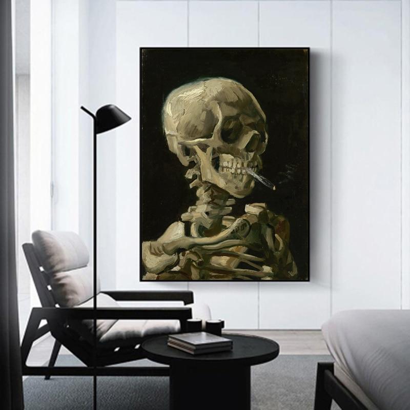 Reliabli arte crânio fumar fotos van gogh pintura a óleo sobre tela arte da parede para sala de estar moderna decoração casa sem moldura