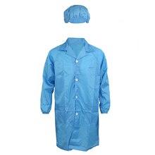 Для мужчин женщин синий точка воротник антистатические Чистая комната ESD в целом платье w cap XL