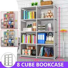 125cm Double Rows 8 Cube Decorative Display Stand Toys Storage Shelf Rack Bookcase Cabinet Organizer Bookshelf Book Display Unit(China)