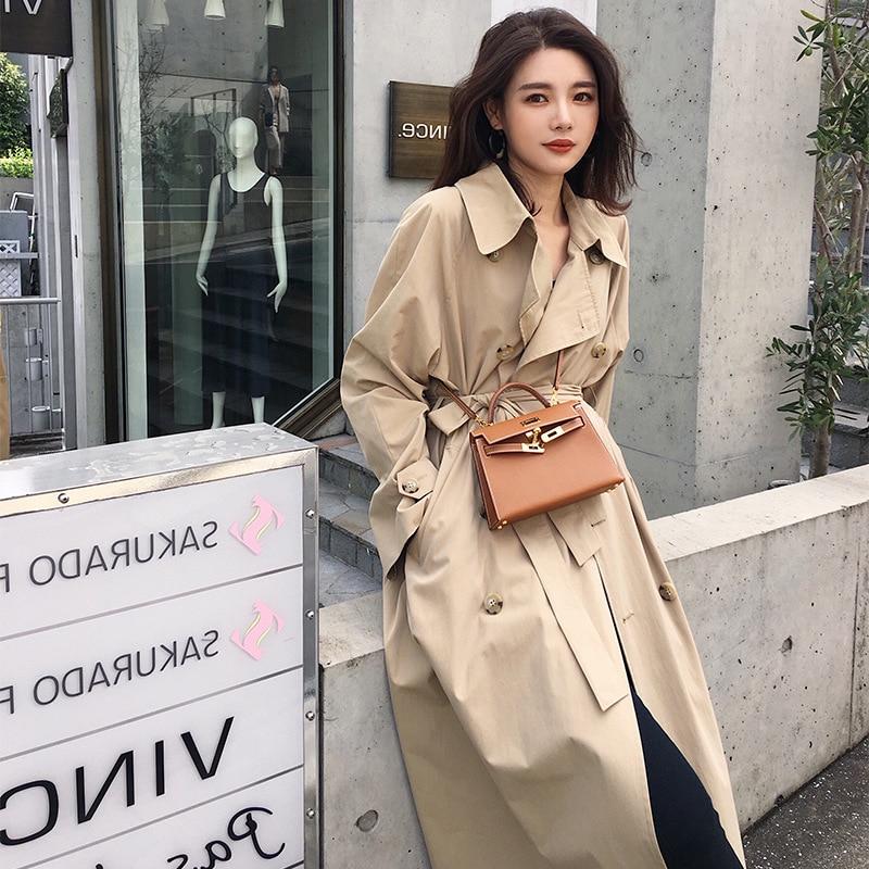 2019 осеннее Новое Женское модное пальто Тренч с отложным воротником Весенняя классическая длинная свободная дизайнерская Повседневная ветровка цвета хаки