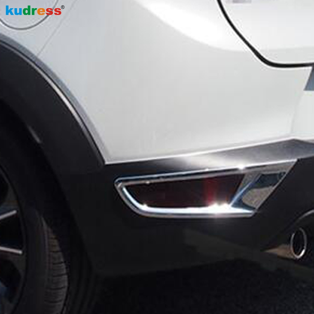 For <font><b>Mazda</b></font> CX-3 <font><b>CX3</b></font> <font><b>2019</b></font> 2020 2015-2018 ABS Chrome Rear Fog Light Lamp Cover Cap Trim Foglight Bumper Reflector Accessories 2pcs image