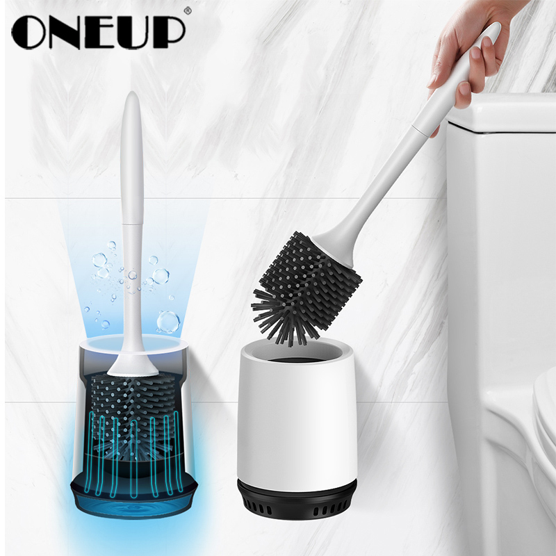 ONEUP Toilet Brush Rubber Head Holder Cleaning Brush For Toilet Wall Hanging Household Floor Cleaning Bathroom Accessories Sets
