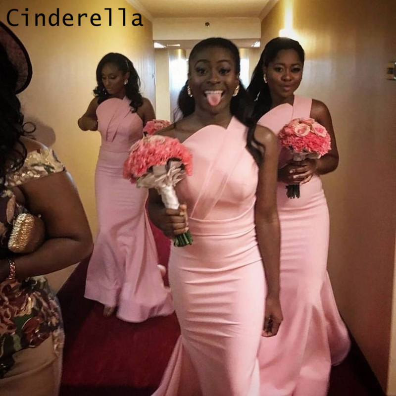 Cinderella Fashion One Shoulder Floor Length Satin Pleated Mermaid Bridesmaid Dresses Sexy Wedding Party Bridesmaid Dresses