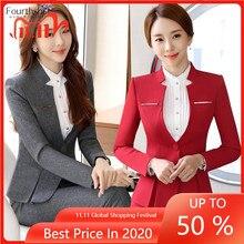 Jacket Suit Office-Set Business-Work Women 2piece Uniform Female Fashion Plus-Size Autumn