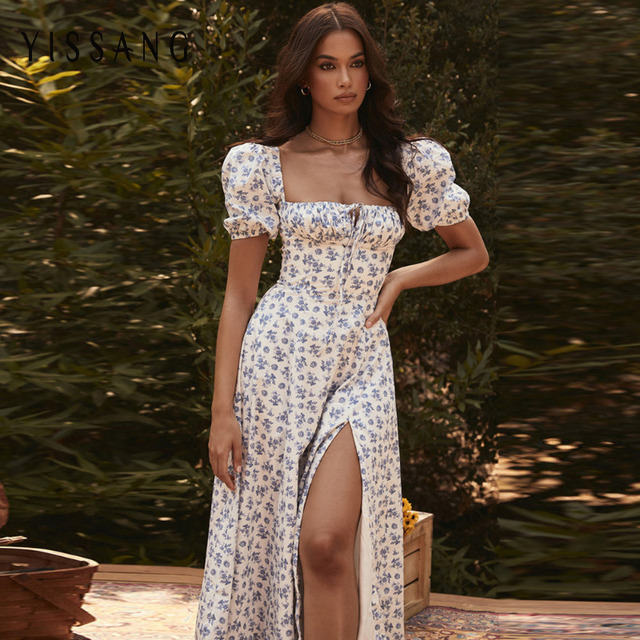 Yissang Floral Print Puff Short Sleeve Women Dress High Split Party Long Dresses Elegant Lace Up Sweet Summer Club Sexy Dress 2