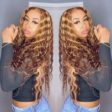 Perruque Lace Front Wig brésilienne naturelle, cheveux bouclés, balayage blond miel, Transparent Hd, Deep Wave, pour femmes