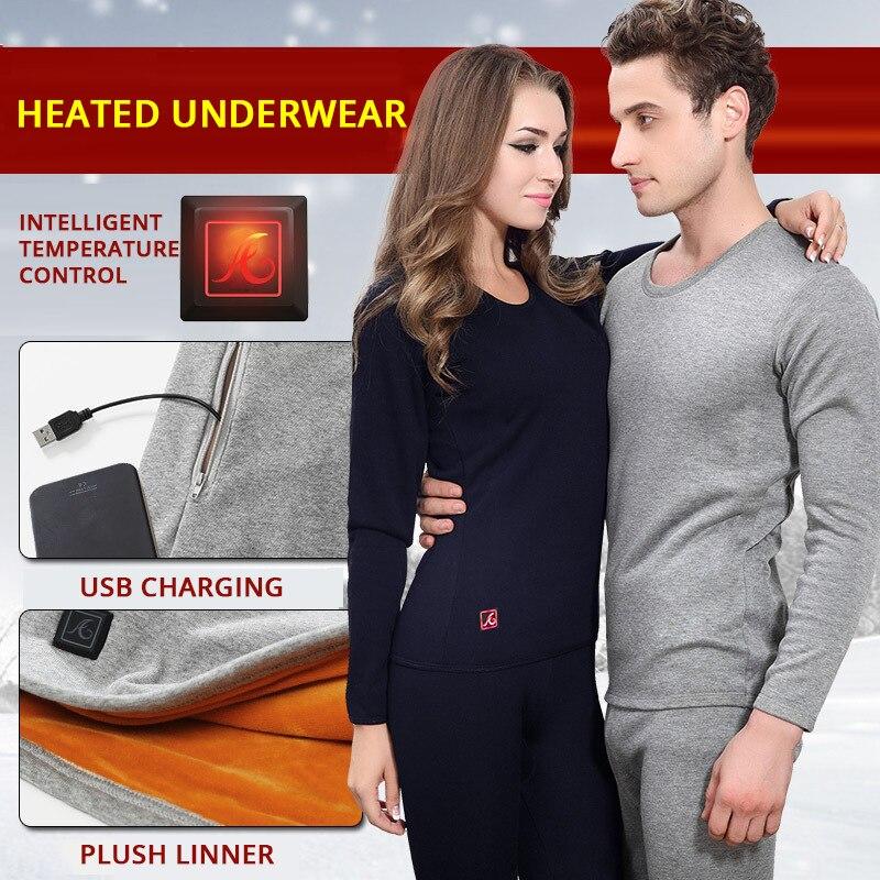 Hiver veste chauffante hommes moto veste chauffante électrique USB chauffage sous-vêtement thermique ensemble petit haut vêtements M-4XL # # - 3