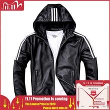 MAPLESTEED Men Leather Jacket Hood 100% Natural Sheepskin White Stripes Real Leather Jackets Boy Coat Hooded Spring Autumn M183
