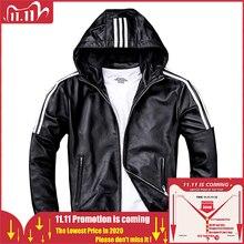 Maplesteed男性の革のジャケットフード 100% 天然シープスキン白のストライプリアルレザー少年のコートフード付き春秋M183